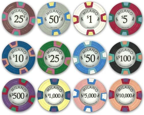 PS Full Clay Milano Ranking TOP20 10gm Poker Product Chip Set - 12 New Chips Sample