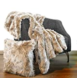 Luxury Faux Fur Throw Blanket 50'x60' + 1 Pillow case Cover 18'x18' Fox Wolf mid Long Pile, Velvet on Back, Fuzzy Furry Fluffy Set for Couch , Sofa and Bed Scarf, fits Glam, Modern Decor (Beige)