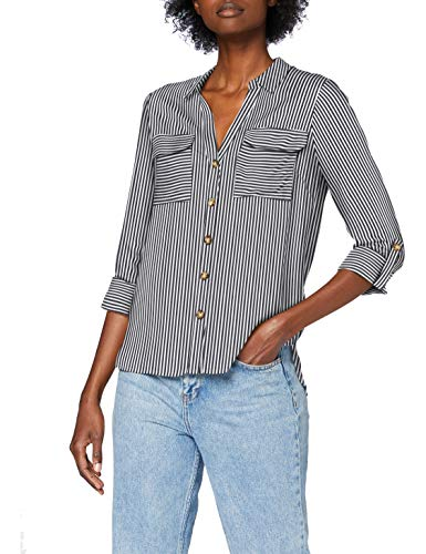 VERO MODA Damen Vmbumpy L/S Shirt Noos Top, Stripes:India Ink Snow White, XS