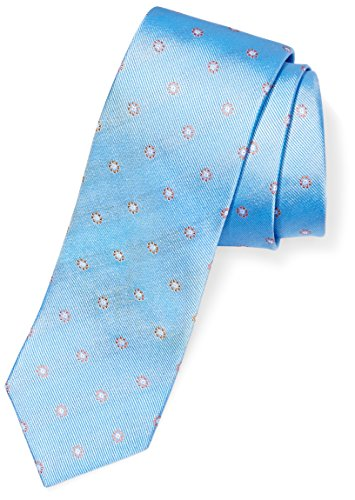 "BUTTONED DOWN Men's Classic Silk 3"" Necktie, light blue/orange flowers, Regular"