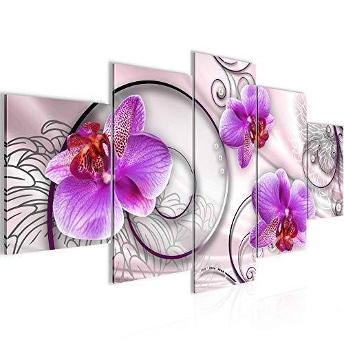 Bilder Blumen Orchidee Wandbild 200 x 100 cm Vlies - Leinwand Bild XXL Format Wandbilder Wohnzimmer Wohnung Deko Kunstdrucke Violett 5 Teilig - MADE IN GERMANY - Fertig zum Aufhängen 208351a