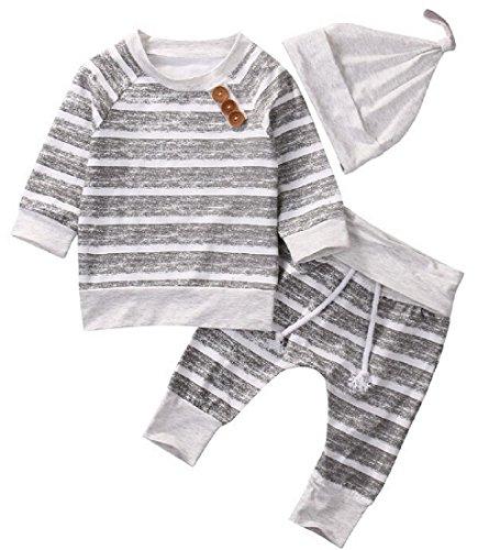 T TALENTBABY 2020 Neugeborenes Baby Boy Kleidung Sets Strampler Gestreifte Oberteile T-Shirt Hose Hut Outfit Baumwolle Body, Hellgrau, 12-18 Monate