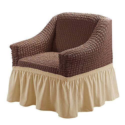 XMJFDMAI Funda de sof Textile Funda,Protector Multiusos para Muebles, 1 Pieza, fácil de Montar, Funda para sofá, Universal, de Gran Elasticidad, con Falda, Estilo campestre, café, Amarillo