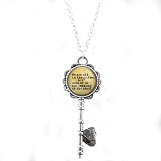 lukuhan Oscar Wilde Quote We are All in The Gutter, but Some us are Looking at The Stars Necklace