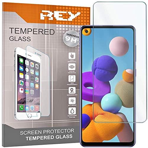 REY Pack 3X Panzerglas Schutzfolie für Samsung Galaxy A21S, Bildschirmschutzfolie 9H+ Festigkeit, Anti-Kratzen, Anti-Öl, Anti-Bläschen