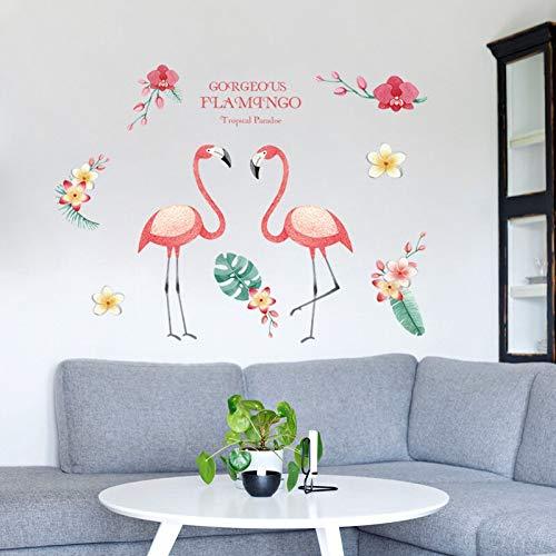 Kswlkj Flores Flamingo Pegatinas de Pared Impermeable Papel de Pared para TV Fondo Decoración Mural Arte Decal Decoración del Hogar