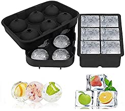 Ice Cube Trays, Silicone Sphere Whiskey Ice Ball Maker with Lids & Large Square Ice Cube Molds for Cocktails & Bourbon - R...