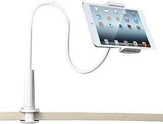 Enllonish Soporte para télefono móvil,Universal Clip Cuello Soporte Giratorio Montaje (Tablet Stand|White)