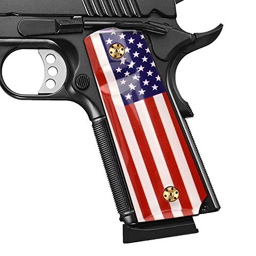 Cool Hand 1911 Patriotic Grips with USA Flag, Full Size (Government/Commander), Screws Included, High Polished Acrylic, Ambi Safety Cut