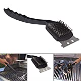 Moradiya Fresh Plastic and Stainless Steel BBQ Grill Cleaning Brush with Scraper (Black)