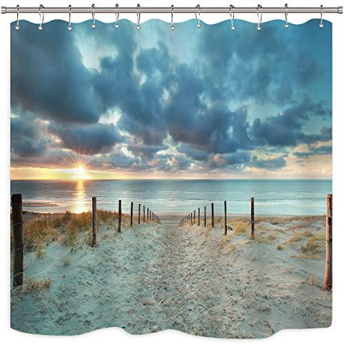 Riyidecor Ocean Beach Scenic Shower Curtain North Holland Brown Sundown Blue Sky Seaside Landscape Sand Decor Fabric Panel Bathroom Clawfoot Tub 72x72 Inch 12 Pack Plastic Shower Hooks