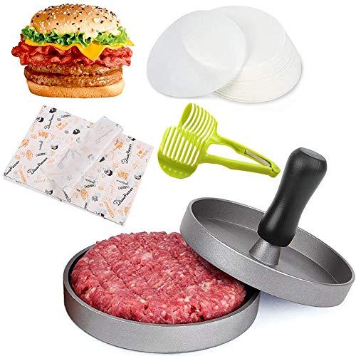 HOTOOLME Burgerpresse Hamburgerpresse mit 100 Patty Papers und 30 Verpackungpapier, Tomatenschneider für leckere Hamburger, Patties, BBQ, Burger Presse mit Antihaftbeschichtung