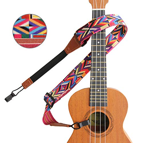 Ukulele Strap No Drill, Ethnic Multicolor Jacquard Woven Ukelele Shoulder Strap Button Free with Double J Hooks Clip On, Easy to Use, Adjustable & Fits Most Standard Sizes Uke