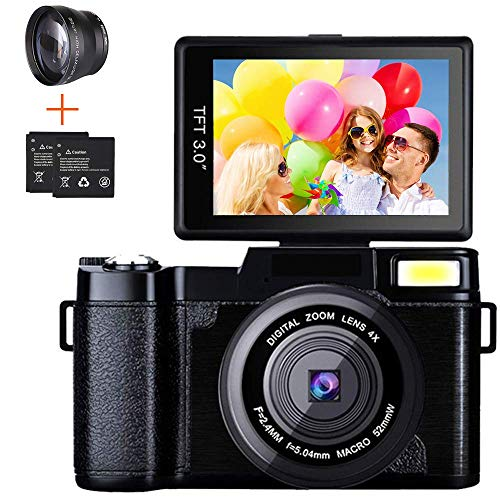 Digital Camera Camcorder, Weton Full HD 1080P 24.0MP Video Camera 3.0 Inch Flip Screen Vlogging Camera Camcorder with Retractable Flashlight for...
