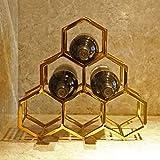 LIAOLEI10 Weinregal EIN Wabenförmiger Weinregal aus Metall Weinhalter aus Edelstahl für 6 Flaschen Horizontales Lagerregal Freistehendes goldenes Zuhause