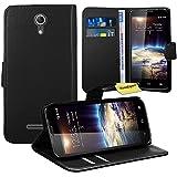Vodafone Smart 4 Power Handy Tasche, FoneExpert® Wallet Hülle Flip Cover Hüllen Etui Ledertasche Lederhülle Premium Schutzhülle für Vodafone Smart 4 Power (Schwarz)