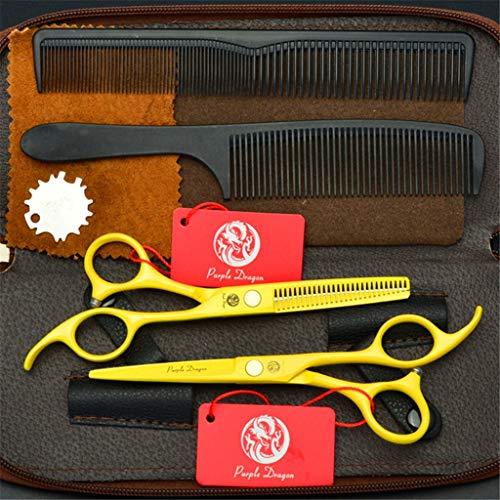LBYSK 6 Pouces Ciseaux Professionnels Barber Combinaison Set Haute qualité Dur Durable de Sharp et Sharp Plat de fluidification par Cisaillement Ciseaux pour Le Salon Outil