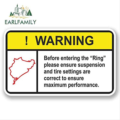 JYIP 13cm x 8.2cm Car Stickers Nurburgring Warning Vinyl Sticker iPad Laptop Car Drift Dub JDM Graphic