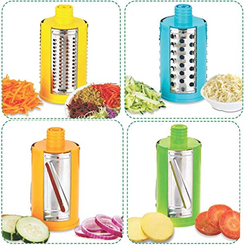 Plastic Grater, Shredder Dicer and Slicer Chopper for Kitchen, Food Processor Manual 4 in 1 Rotary Cutter; Vegetable Choppers for Kitchen (Made in India)