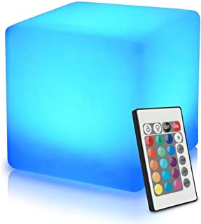 Mr.Go 16-inch 40cm Rechargeable LED Light Cube Stool Waterproof with Remote Control Magic..