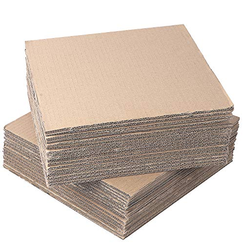 """KEILEOHO 30 Packs 12 x 12 Inch Corrugated Cardboard Sheets, 1/4"""" 5 Layer Extra Thick High Strength Double Face Flat Corrugated Cardboard Fillers Pads Inserts for Packing, Mailing and Crafts"""