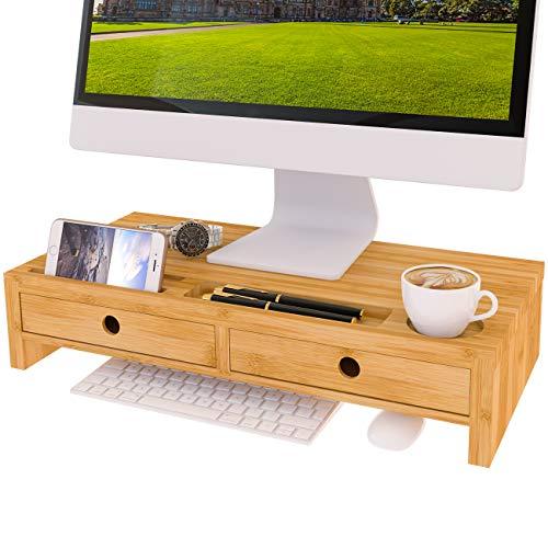 Monitorständer Bildschirmständer Bildschirmerhöhung Tischaufsatz Monitorerhöhung mit 2 Schuhbladen aus Bambus 56x27x12cm