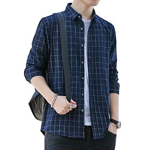 Camisa de Cuello Vuelto para Hombre Cárdigan de Botones con Estampado de Cuadros clásico Camisa de Manga Larga Informal de Primavera y otoño Small