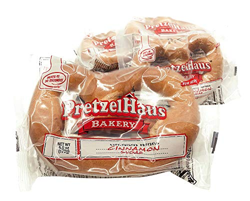 Large Soft Pretzels - 10 pack - Cinnamon Sugar - Individually Wrapped PretzelHaus Never Frozen Heat and Serve Baked Snack - w/Honey packs