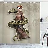 Cortina de Ducha de fantasía, Westernly Geisha con Maquillaje de llanto Envuelto por Spiraling Dragon, Juego de decoración de baño de Tela con Ganchos, Verde cáscara de Huevo