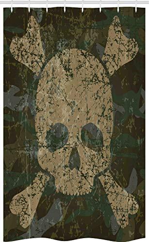 ABAKUHAUS Schädel Schmaler Duschvorhang, Rostiger gealterter Camouflage-Entwurf, Badezimmer Deko Set aus Stoff mit Haken, 120 x 180 cm, Dunkelgrün Creme Khaki