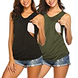 Ekouaer Womens 2 Packs Maternity Nursing Tee Shirt Double Layer Breastfeeding Tops Black+Army Green S