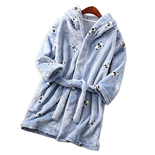 Insun Jungen Mädchen Bademäntel mit Kapuze Baumwoll Nachtwäsche Blau Panda Tag 150 Körpergröße:130-140cm