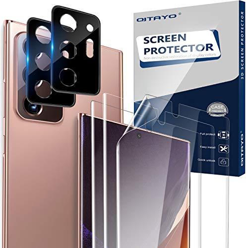 QITAYO per Samsung Galaxy Note 20 Ultra Pellicole Protettiva + Fotocamera Posteriore Pellicola,Protezione dello Schermo in Vetro Temprato per Samsung Galaxy Note 20 Ultra Fotocamera (2+2 Pezzi)