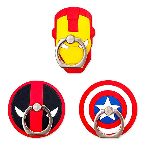 Finex 3 Pcs Set Ironman Deadpool Captain America Shield 2-in-1 Mobile Cell Smart Phone Kickstand Finger Ring and Holder Stand Grip for iPhone Samsung Android