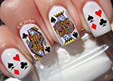 Playing Cards Vegas Water Nail Art Transfers Stickers Decals - Set of 60
