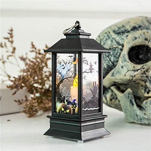 WXYXG Halloween-Kerze Laterne, Vintage Kürbis Burg hängende Laterne Flamme Licht, Halloween dekorative LED-Lampe for Weihnachtsfeier Gartendekor hängen (Color : D)