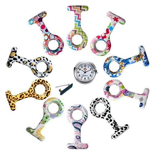 Avaner Reloj de Enfermera Silicona, Reloj Médico, Reloj de Bolsillo, Reloj Redondo Prendedor de Broche de Túnica de Paramédico Doctor, Regalo para Enfermera Médico