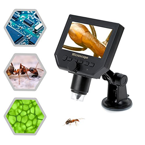 Koolertron 4.3' LCD Digital USB Microscope Magnifier with 1-600X Continuous Magnification Zoom,8 LED Adjustable Light Source,Rechargeable Lithium Battery,Micro-SD Storage,Camera Video Recorder