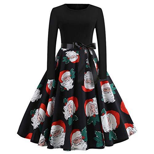 Xmiral Damen Vintage Weihnachten Kleid Print Langarm Abend Party Faltenrock (XXL,Schwarz4)