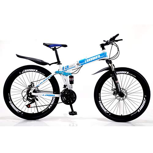 QXue 24 Inches Mountain Bike for Men and Women, High Carbon Steel Dual Suspension Frame Mountain Bike, Variable Speed Spoke Wheel Folding Outroad Bike,Blue,24 Speed