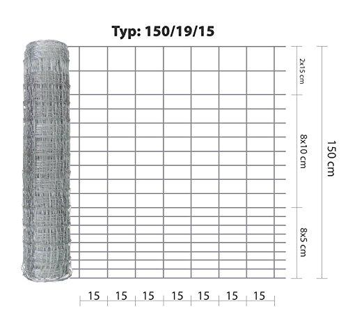 Wildzaun Eider 150/19/15, 50 m lang, stabiler, verzinkter Drahtzaun in der Höhe 150 cm