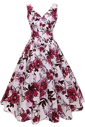Babyonlinedress® Damen Vintage 50er Vintage Geblümte Sommer Pinup Retro Rockabilly Kleider Cocktailkleider -Rot-XL