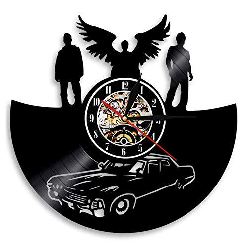 YUN Clock Wanduhr aus Vinyl Schallplattenuhr Upcycling Supernatural - 3D Design-Uhr Wand-Deko Vintage Familien Zimmer Dekoration Kunst Geschenk Ø: 30 cm (Lieferzeit: 3-5 Tage)