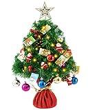 HBselect Árbol de Navidad de Mesa, 50 CM Mini Árbol de Pino de Navidad Artificial con Luces LED y Adornos, Pequeño Árbol de Navidad con 80 Ramas y Puntas para Decoración de Escritorio Oficina Casa