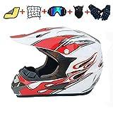 FANLA Casco de motocross unisex, para bicicleta todoterreno, con máscara y guantes (54-55 cm), color blanco y rojo