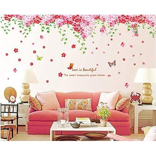 Attractive Amaonm Large Huge Fashion Pink Romantic Cherry Blossom Flower Vine  Butterfly Wall Corner Decal Wall Stickers
