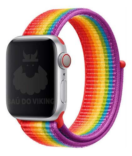 Pulseira Nylon Loop Esportiva, compatível com Apple Watch (Roxo Pride, 44mm)