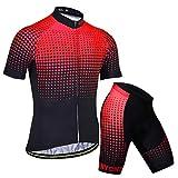 X-Labor - Maglia da ciclismo da uomo con colori sfumati, taglia grande, maglietta a maniche corte + pantaloni da ciclismo con imbottitura 3D, abbigliamento da ciclismo rosso L