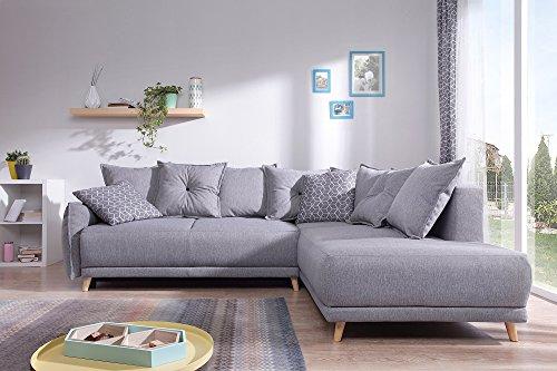 Bobochic - Lena - Skandinavisches Sofa mit rechter Ecke - Hellgrau - 236x90x190cm