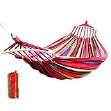 HUI JIN Hamaca doble acolchada con barras de bambú curvadas desmontables y hamaca de lona para acampar
